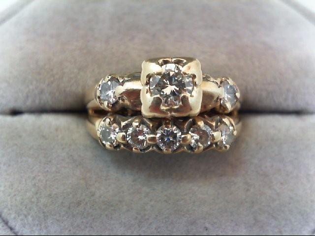 Lady's Diamond Wedding Set 8 Diamonds 1.02 Carat T.W. 14K Yellow Gold 4.6g