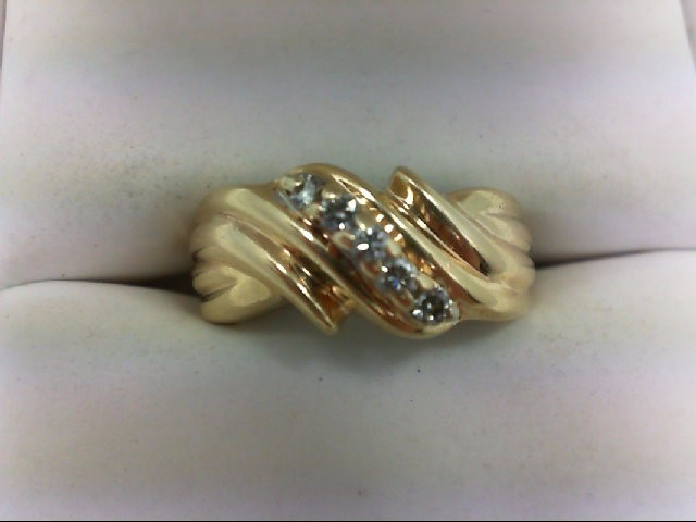Lady's Diamond Wedding Band 5 Diamonds 0.15 Carat T.W. 14K Yellow Gold 3.9g Size