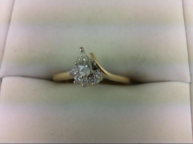 Lady's Diamond Engagement Ring 6 Diamonds 0.4 Carat T.W. 14K Yellow Gold 2.3g Si