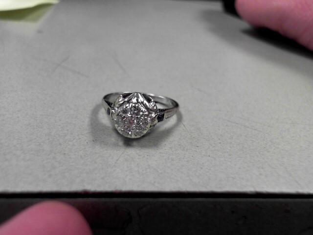 Lady's Diamond Fashion Ring 7 Diamonds 0.35 Carat T.W. 18K White Gold 4.07g Size
