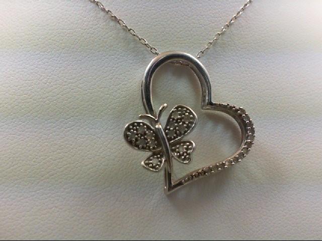 Silver-Diamond Pendant 25 Diamonds 0.25 Carat T.W. 925 Silver 3.7g