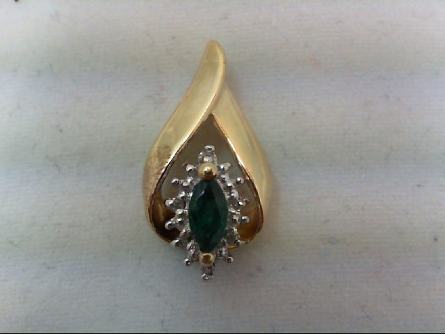 Emerald Gold-Stone Pendant 10K Yellow Gold 2g