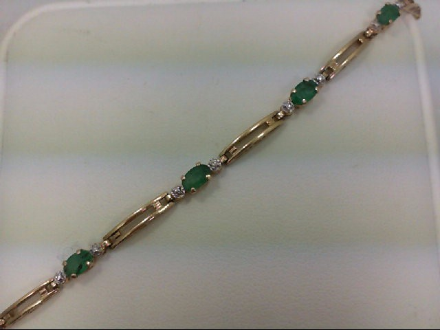 Emerald Gold-Stone Bracelet 14K Yellow Gold 3.1g