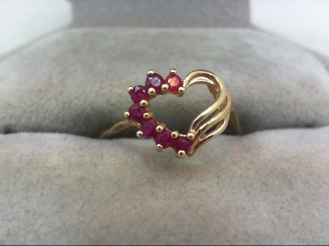 Ruby Lady's Stone Ring 10K Yellow Gold 1.1g