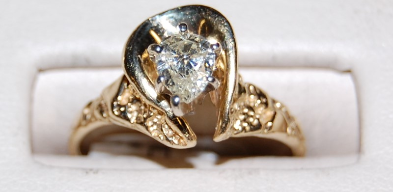 14K Yellow Gold Lady's Diamond Solitaire Ring 3.0G 0.39CTW Size 6.75
