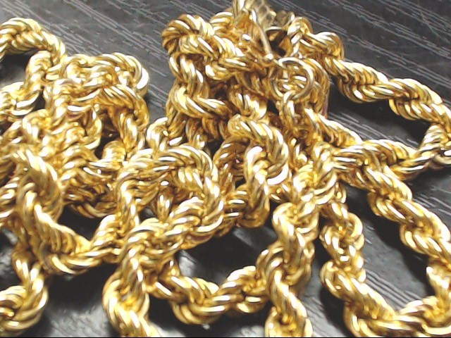 "25"" Gold Rope Chain 10K Yellow Gold 33g"