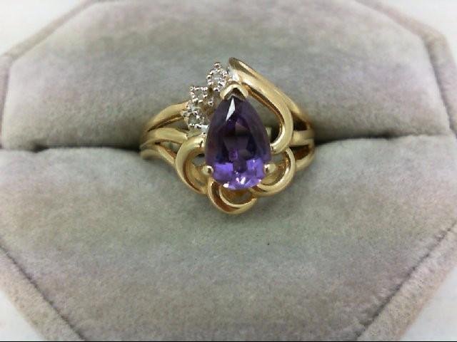 Amethyst Lady's Stone & Diamond Ring 3 Diamonds 0.03 Carat T.W. 14K Yellow Gold