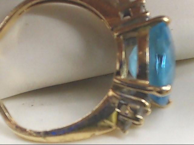 Blue Stone Lady's Stone Ring 10K Yellow Gold 2.8g Size:5.3