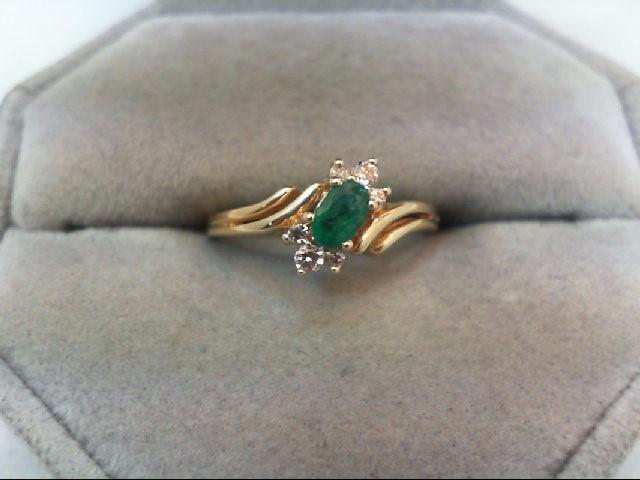 Emerald Lady's Stone & Diamond Ring 6 Diamonds .10 Carat T.W. 14K Yellow Gold
