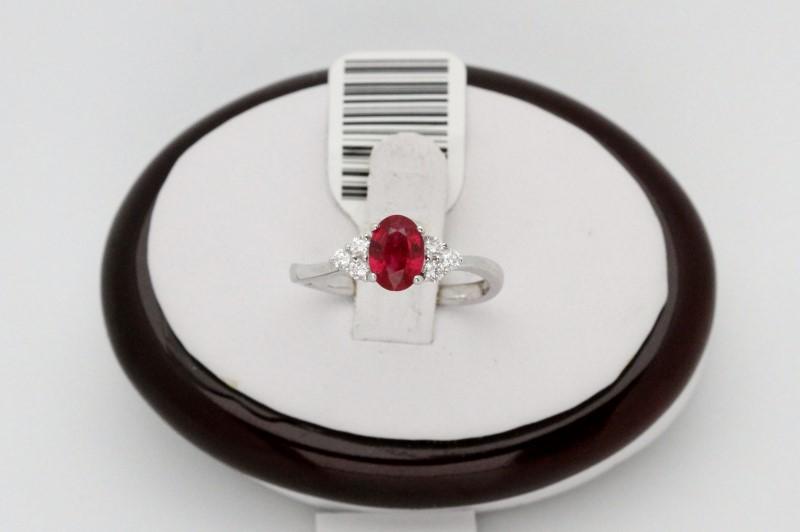 Lady's ruby & Diamond Ring 6 Diamonds .18 Carat T.W. 18K White Gold 2.7g