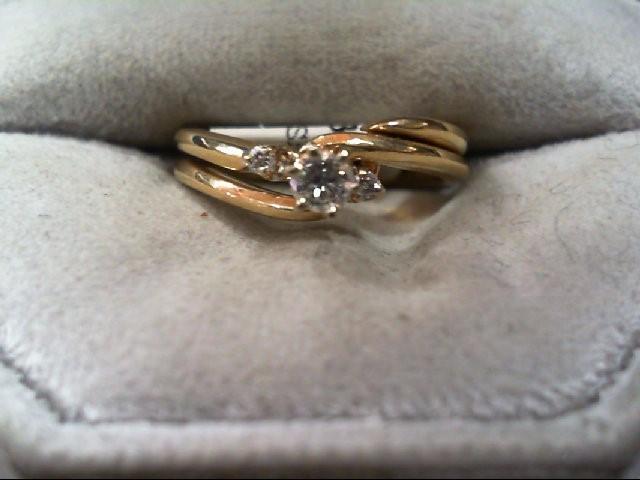 Lady's Diamond Wedding Set 3 Diamonds .12 Carat T.W. 14K Yellow Gold 3.5g