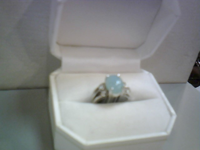 Lds Chalcedony & Diamond Ring 6 Diamonds .06 Carat T.W. 14K White Gold