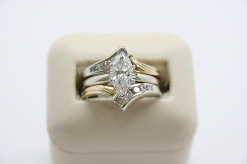 LADY'S MARQUISE CUT DIAMOND WEDDING SET 14K 2T GOLD
