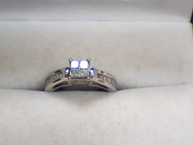 Lady's Diamond Engagement Ring 32 Diamonds .76 Carat T.W. 10K White Gold 2.4dwt