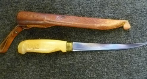 VINTAGE J. MARTTIINI FINLAND RAPALA STAINLESS FISHING FISH FILET KNIFE & SHEATH