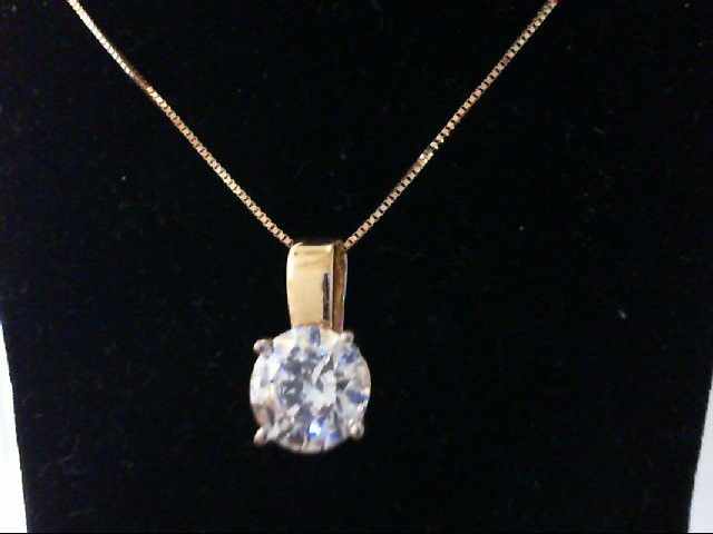 Cubic Zirconia Gold-Stone Pendant 14K Yellow Gold 2.8g