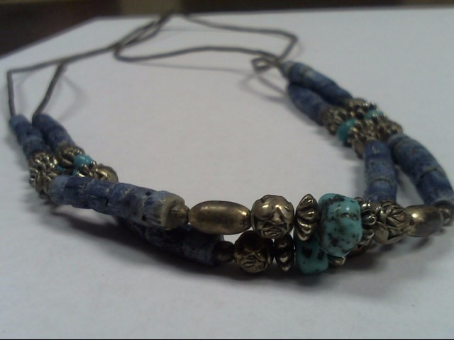 Necklace SILVER TURQUOISE BEADED 20.1g