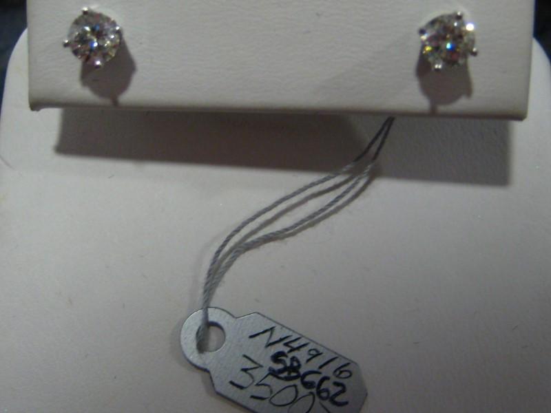 Gold Earrings 14K White Gold 1g