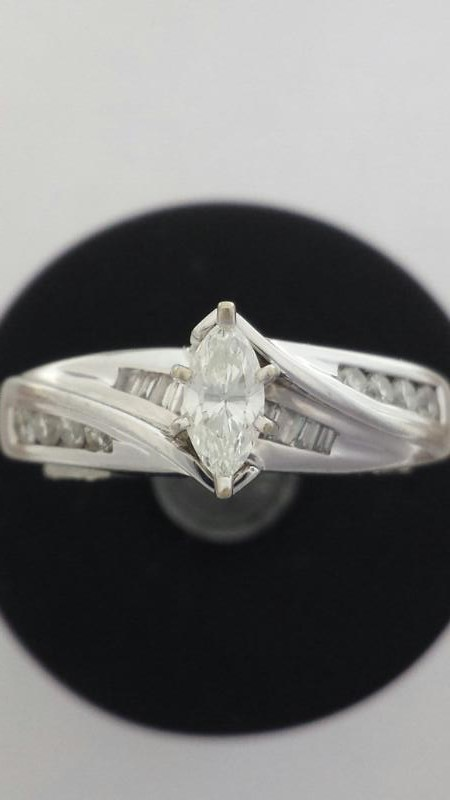14K White Gold Marquise Diamond Engagement Ring Round & Baguette Accents Size: 7