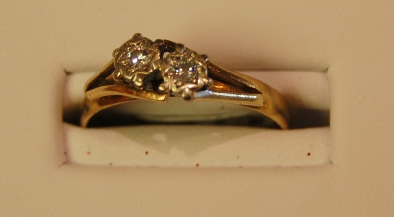 Lady's Diamond Fashion Ring 2 Diamonds .08 Carat T.W. 10K Yellow Gold 2.1g