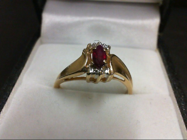 Ruby Lady's Stone Ring 14K Yellow Gold 2.8g