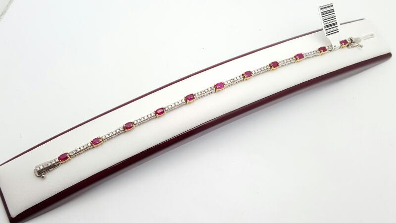 Ruby Gold-Diamond & Stone Bracelet 85 Diamonds .85 Carat T.W. 14K 2 Tone Gold 10