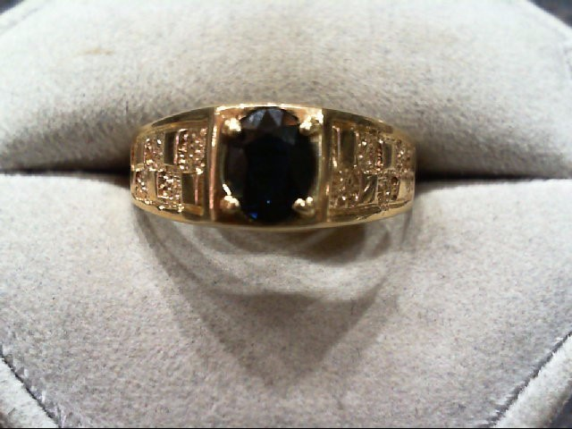 Sapphire Gent's Stone Ring 10K Yellow Gold 3.3g