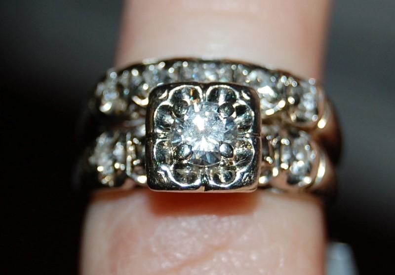 Lady's Diamond Wedding Set 8 Diamonds .57 Carat T.W. 14K White Gold 5g Size:3.8