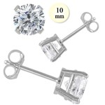 Synthetic Cubic Zirconia Silver-Stone Earrings 925 Silver 4.1g