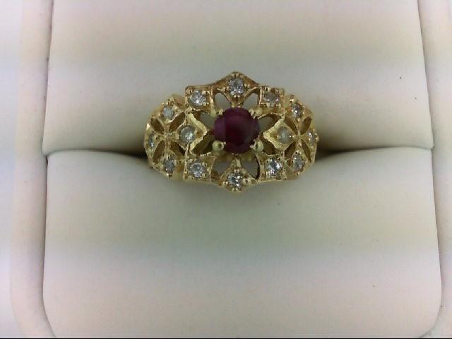 Ruby Lady's Stone & Diamond Ring 14 Diamonds 0.28 Carat T.W. 14K Yellow Gold 4.4