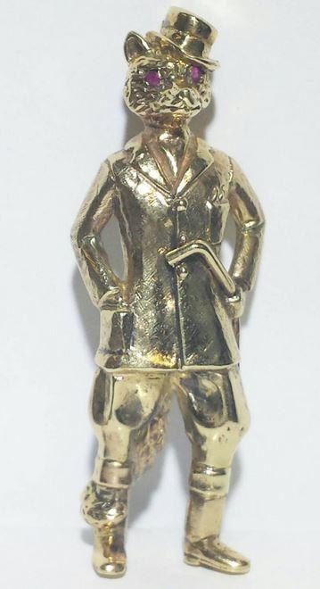 14K Yellow Gold Fancy Fox in Suit & Top Hat w/ Ruby Eyes Brooch Pin