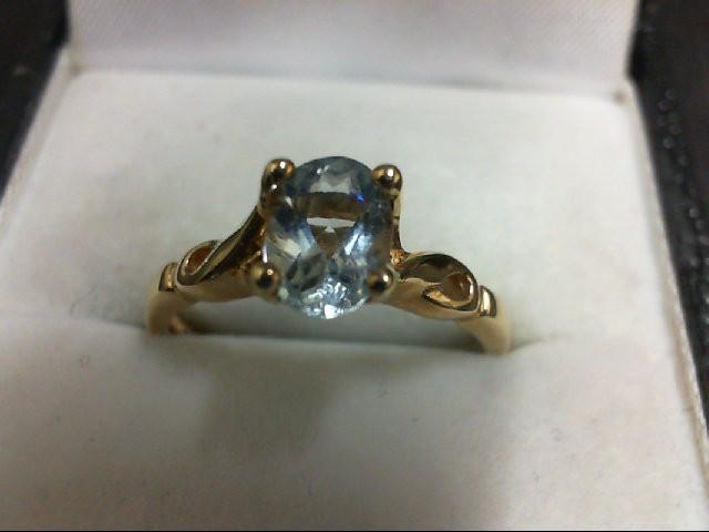 Synthetic Aquamarine Lady's Stone Ring 10K Yellow Gold 2.2g