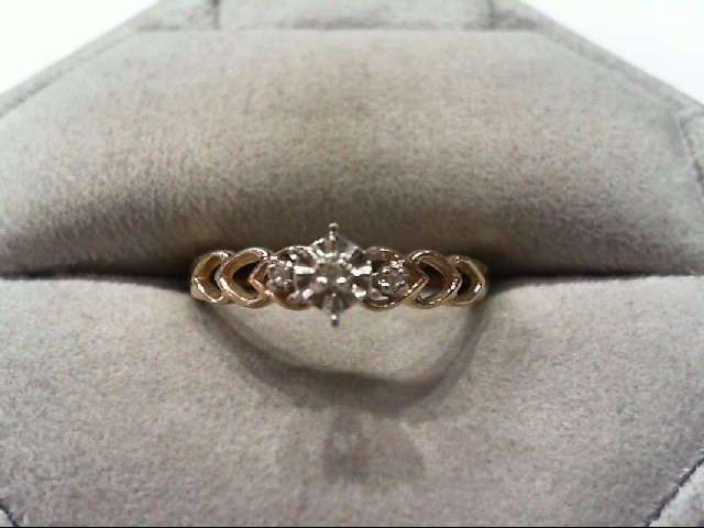 Lady's Diamond Engagement Ring 3 Diamonds .03 Carat T.W. 10K Yellow Gold 1.6g