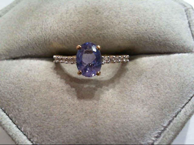 Tanzanite Lady's Stone Ring 10K Yellow Gold 1.3g