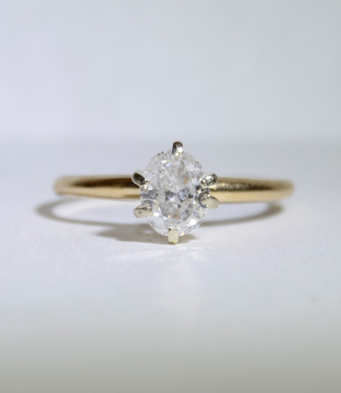 14K Yellow Gold Oval Diamond Solitaire Engagement Ring .75ct sz 7.75