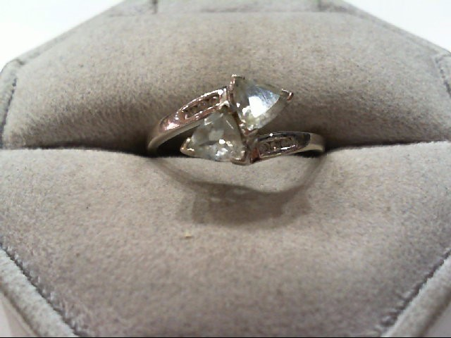 Blue Topaz Lady's Stone & Diamond Ring 6 Diamonds .06 Carat T.W. 10K White Gold