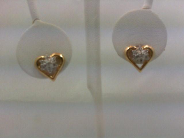 Gold-Diamond Earrings 14 Diamonds 0.14 Carat T.W. 10K Yellow Gold 2.6g
