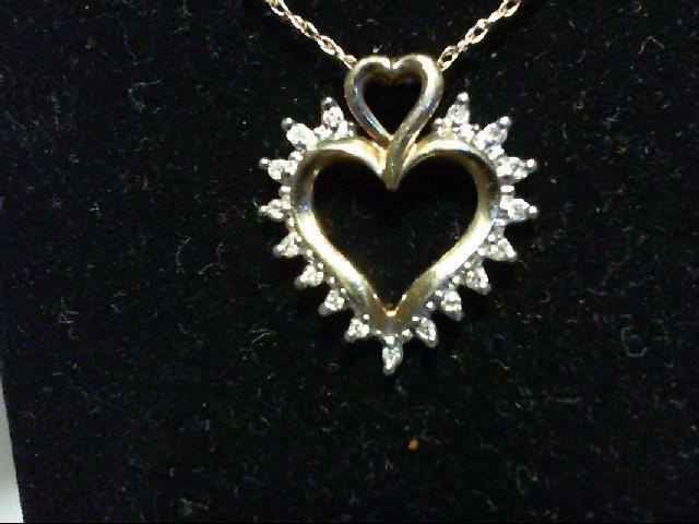 Gold-Multi-Diamond Pendant 17 Diamonds 0.17 Carat T.W. 10K Yellow Gold 1.6g