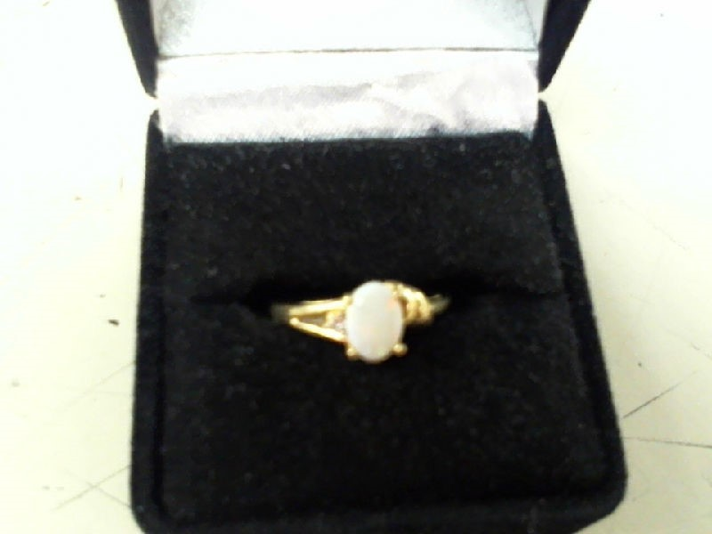 Synthetic Opal Lady's Stone & Diamond Ring .01 CT. 10K Yellow Gold 1.7g