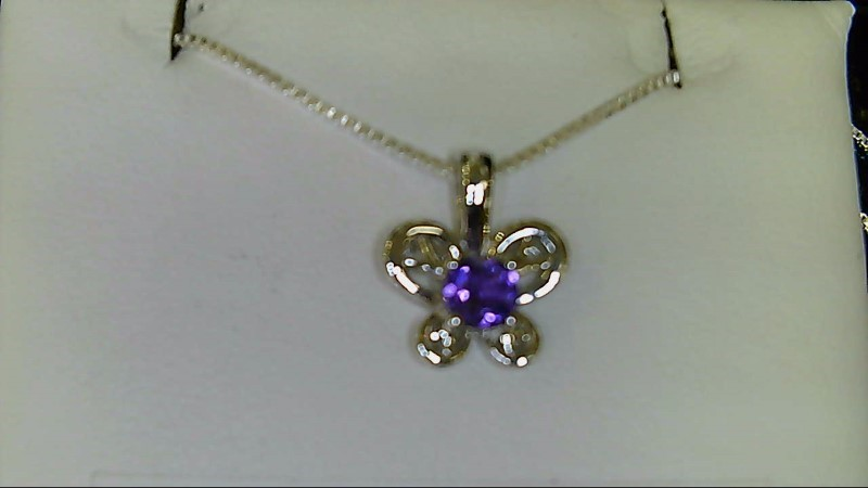 NEW SS BUTTERFLY FEB. BIRTHSTONE PENDANT