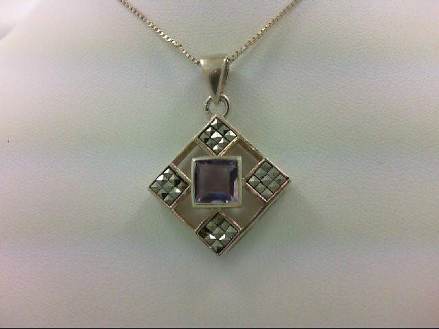 Amethyst Silver-Stone Pendant 925 Silver 6.6g