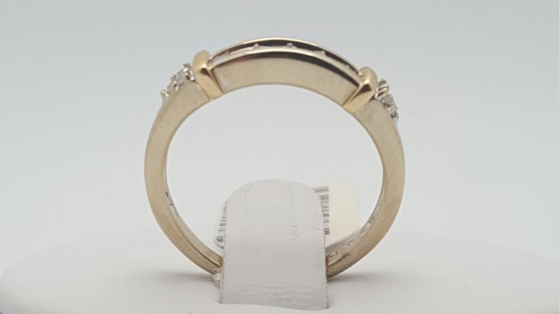Lady's Gold-Diamond Anniversary Ring 11 Diamonds .11 Carat T.W. 14K 2 Tone Gold