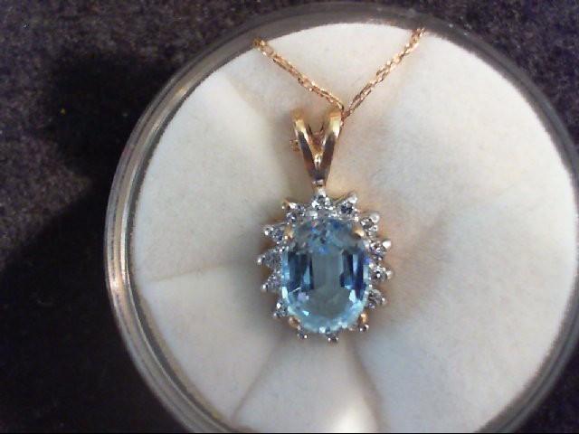 Blue Topaz Gold-Diamond & Stone Pendant 14 Diamonds .14 Carat T.W.