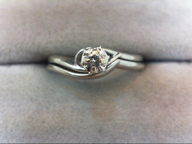 Lady's Diamond Wedding Set .05 CT. 10K White Gold 2.6g
