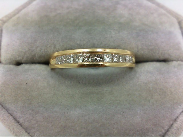 Lady's Diamond Wedding Band 11 Diamonds 0.55 Carat T.W. 14K Yellow Gold 4.4g Siz