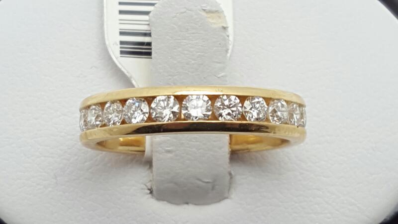 Lady's Gold-Diamond Anniversary Ring 11 Diamonds 0.79 Carat T.W. 14K Yellow Gold