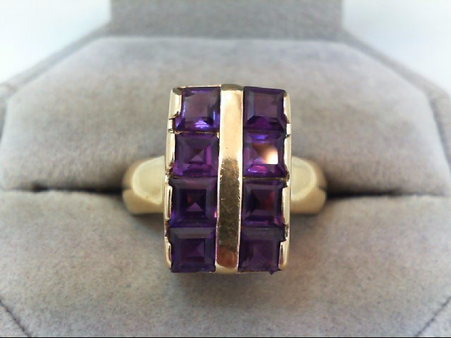Amethyst Lady's Stone Ring 14K Yellow Gold 6.6g