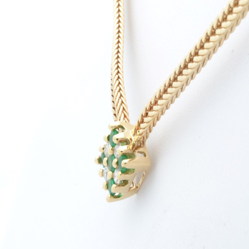 "15"" DIAMOND EMERALD GREEN STATEMENT NECKLACE REAL 14K GOLD 13.9g"