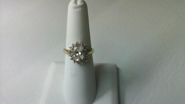 White Stone Lady's Stone Ring 10K Yellow Gold 3.9g