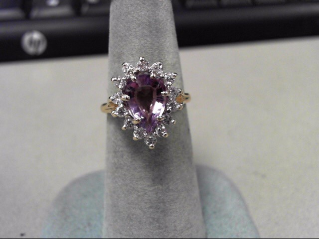 Purple Stone Lady's Stone & Diamond Ring 14 Diamonds .28 Carat T.W.